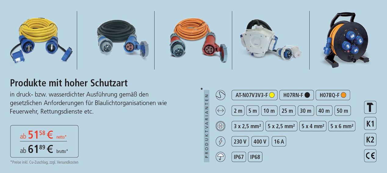 Produkte mit hoher Schutzart IP67/68