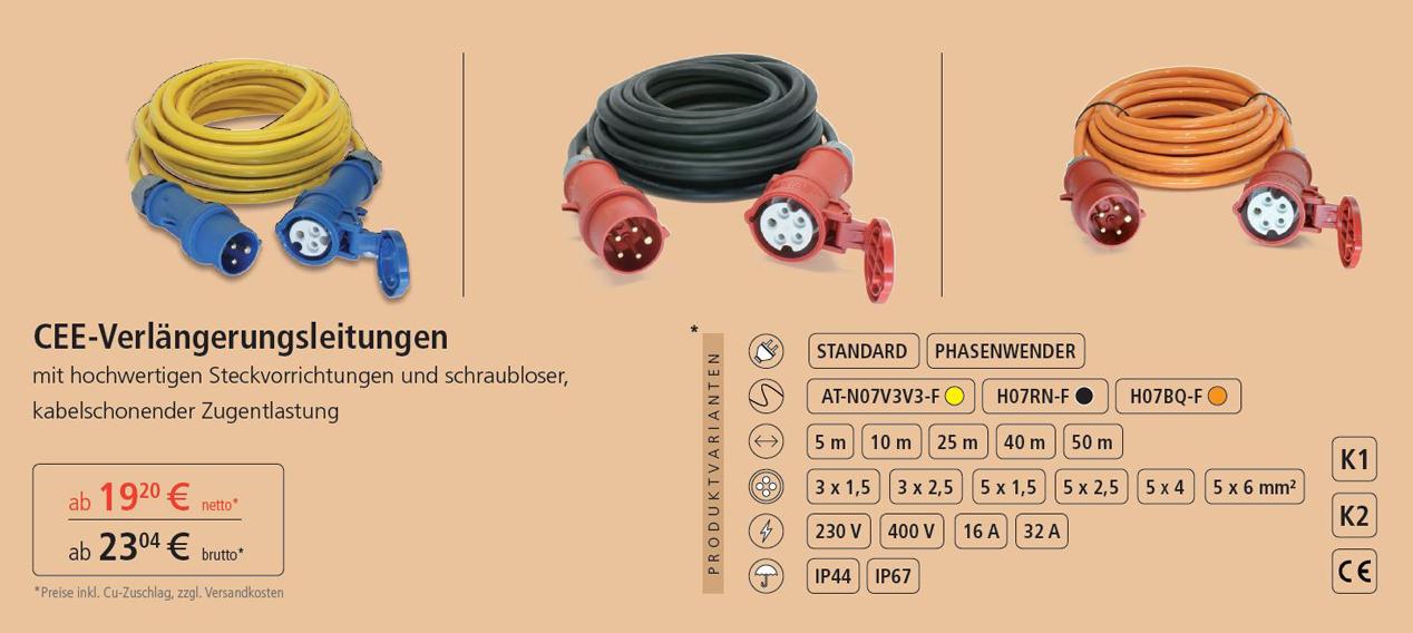 CEE- Verlängerungskabel  230V & 400V